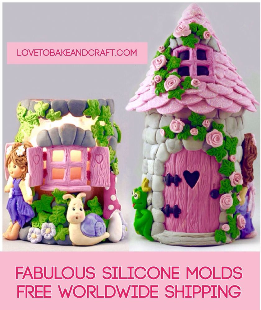 Fairy house molds fairy house fairy window fairy door fairy silicone molds 4 moulds for fairy house Free worldwide shipping  sc 1 st  Silicone molds Polymer clay mold fimo mold sculpey mold Cake & Fairy house molds fairy house fairy window fairy door fairy silicone ...